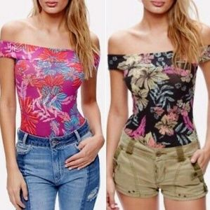 NWT Free People Off the Shoulder Floral Bodysuit